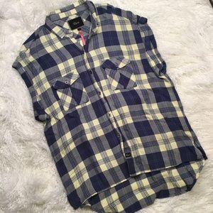 RAILS FREE PEOPLE YELLOW BLUE FLANNEL STYLE SMALL